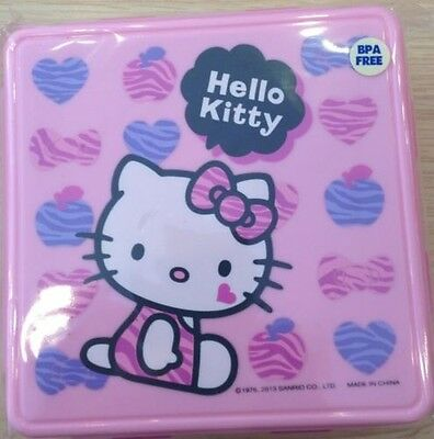 NEW SANRIO HELLO KITTY LUNCH CONTAINER CASE W/SPOON FORK SILVERWEAR BPA - Plastic Silverwear
