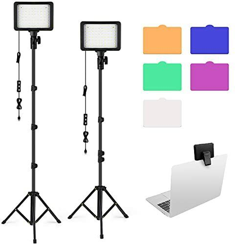 LED Video Light Kit, 2 Pcs Dimmable Photography Lighting with 2 Tripod Stand