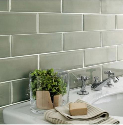 Edge Salvia Sage Green Bevelled Tiles For Bathroom Kitchen 30x10cm 52