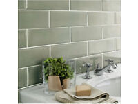 Edge Salvia (Sage Green) bevelled Tiles for bathroom/kitchen- 30x10cm - 52 Tiles