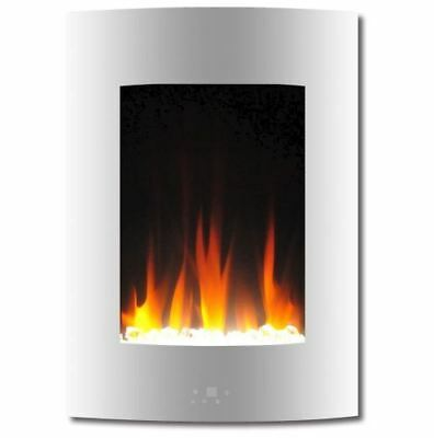 19.5 In. Vertical Electric Fireplace in White with Multi-Color Flame