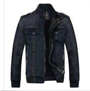 Mens Denim Leather Jacket