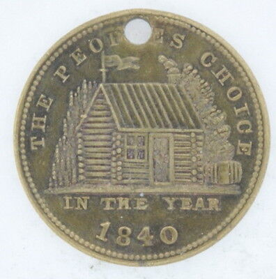 1840 Brass Hard Times Token HT 815 Rarity 4 Maj General W H Harrison Brass Coin