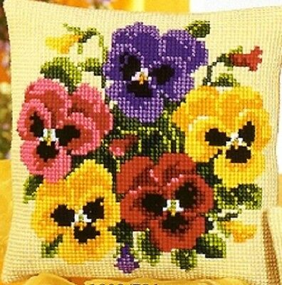 Pansy Posy - Large Holed Tapestry Canvas Cushion Kit/Printed Chunky Cross Stitch