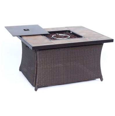 Woven 40,000 BTU Fire Pit Coffee Table with Porcelain Tile Top ()