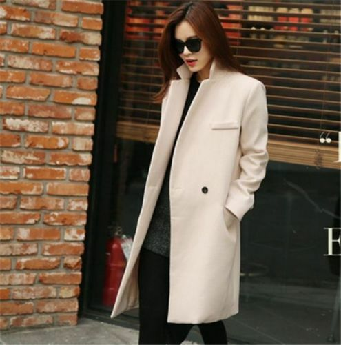 Wool Long Faux Slim Fit Trench Coat