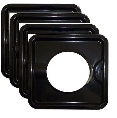 4 PCS HEAVY DUTY BLACK STEEL SQUARE REUSABLE GAS BURNER BIB LINER COVERS 7.8""