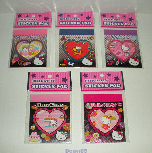"VERY CUTE & HTF! 2010 Sanrio HELLO KITTY Lot of 5 ""Sticker Pads""! All NEW!"