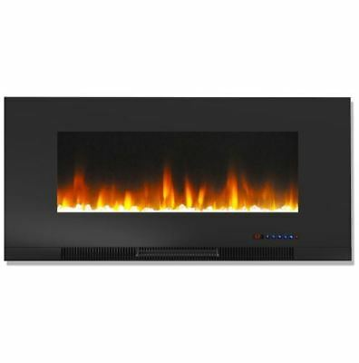 42 In. Wall-Mount Electric Fireplace in Black and Crystal Ro
