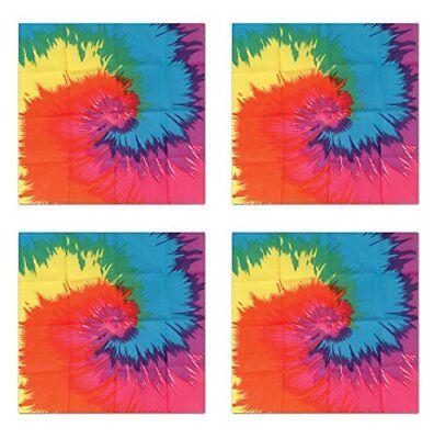 "NEW Beistle S60761AZ4 Funky Tie-Dyed Bandanas 22"" x 22"", Pack of 4 FREE2DAYSHIP"