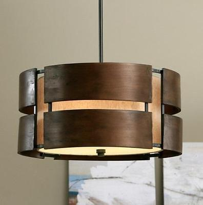 Curved Wood 3 Light Walnut Chandelier Pendant Modern Mid Century Fixture Rustic Curves 3 Light Chandelier