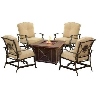 Night 5-Piece Fire Pit Conversation Set with Natural Oat Cushions ()