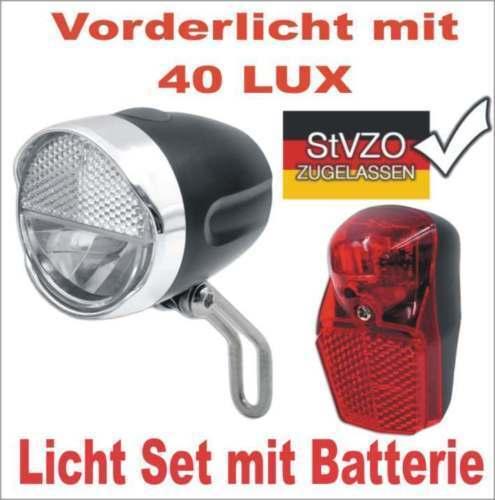 40 Lux Fahrrad Retro Vorderlicht Frontlicht Beleuchtung Rücklicht StvZO Batterie