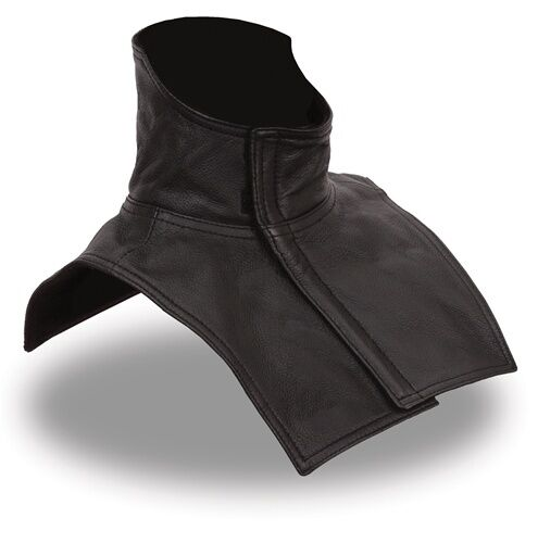 Black Leather & Fleece Motorcycle Dickie - Biker - First Neck Warmer Scarf