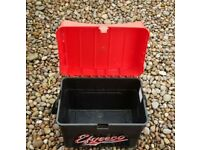 Efgeeco Black/Red fishing Seat Box fishing tackle equipment storage strapped