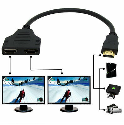 1080p HDMI Port Male To 2 Female 1 In 2 Out Splitter Cable Adapter Converter  on Rummage