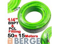 "NEW - BERGEN HEAVY DUTY Air Line Hose Compressor Air Hose Line 15m 50ft 1/4"" BSP HiVis"