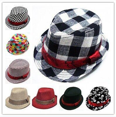 Toddler Baby Boy Girl Fashion Flat Top Fedora Hat Sun Hat Blues Jazz Cap Dance](Toddler Girl Fedora Hats)