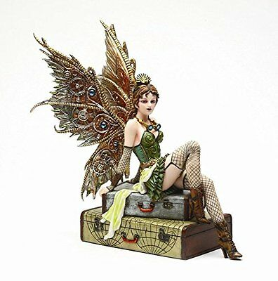 9.38 Inch Steampunk Fairy Sitting on Vintage Luggage Statue Figurine by PTC