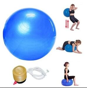 65-cm-Quality-Gym-Ball-Exercise-Core-Pilates-Anti-Burst-Blue-Red-With-Pump