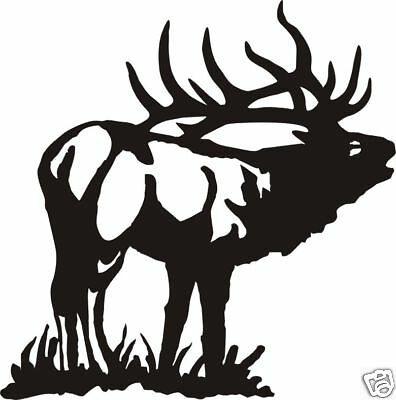 LARGE BUGLEING ELK DECAL bow arrow call hunt