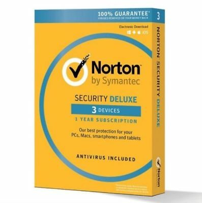 Norton Security Deluxe 2018 for 3 Devices PC Mac Android iOS Box (Key Card)