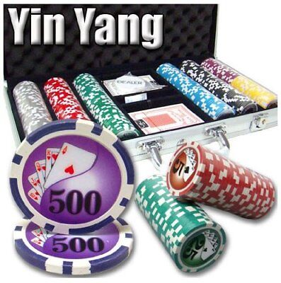 300ct. Yin Yang 13.5g Poker Chip Set in Aluminum Metal Carry Case