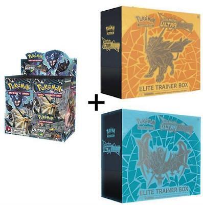 POKEMON TCG SUN AND MOON ULTRA PRISM BOOSTER BOX + BOTH ELITE TRAINER BOXES