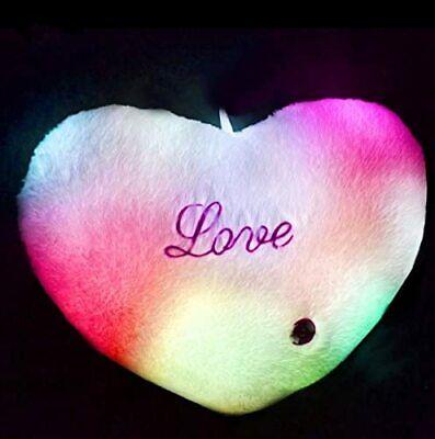 Cojin con luz LED Almohada iluminada forma corazon 6 colores LOVE