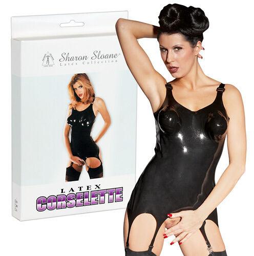 Sharon Sloane Latex Strapscorsage schwarz S | M | L | XL Damen Korsett
