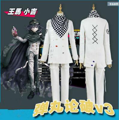Danganronpa V3 Ouma Kokichi Cosplay Costume White School Uniform Full - 3 Costume