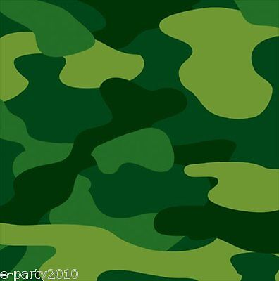 MILITARY CAMOUFLAGE LUNCH NAPKINS (16) ~ Birthday Party Supplies Dinner Green (Military Birthday Supplies)