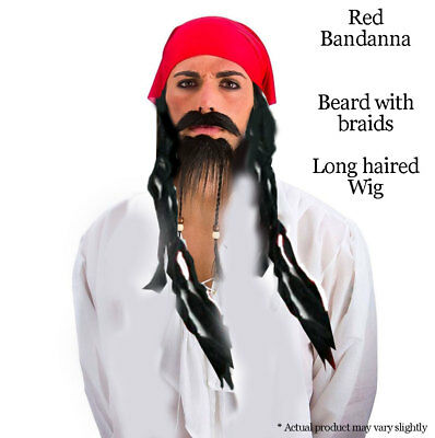 Black Pirate Set Wig Beard Red Bandana Adults Costume Fancy Dress Accessory - Red Beard Costume