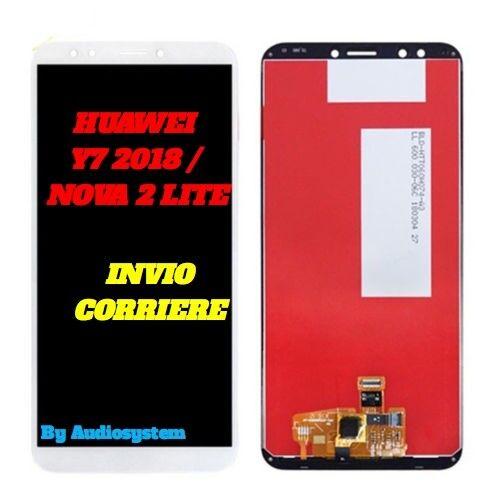 DISPLAY+TOUCH SCREEN PER HUAWEI Y7 PRIME 2018 LDN-TL10 L21 LX2 BIANCO VETRO LCD