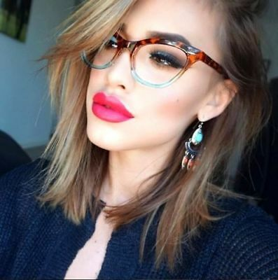 Retro Slim Gradient CAT EYE Clear Women WaYfe Fashion Eye Glasses Frames 1404 (Cat Glasses)