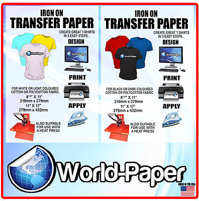 Used, Iron-On T-Shirt Transfer Paper 10 x Dark + 10 X Light  Heat Transfer Paper for sale  Fort Lauderdale