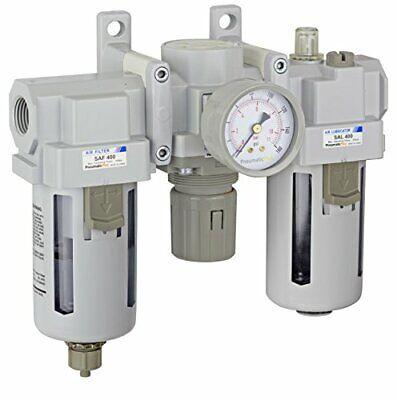 Pneumaticplus Air Filter Regulator Lubricator Combo 12 Npt 250 Psi Sau400-n04g