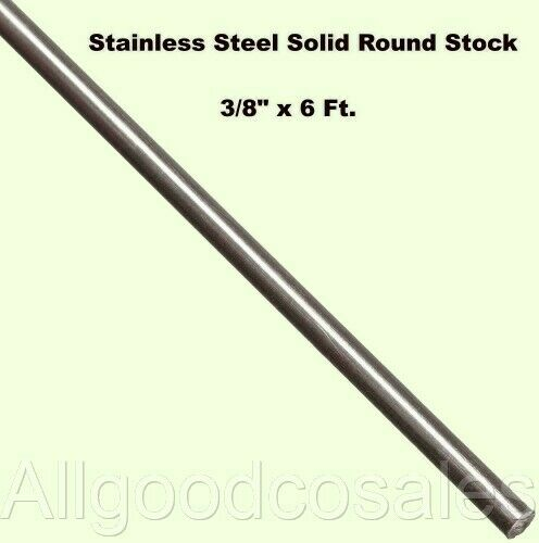"Stainless Steel Solid Round Stock  3/8"" x 6 Ft  303 Unpolished  72"" Long Rod"