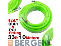 "NEW - BERGEN HEAVY DUTY Air Line Hose Compressor Air Hose Line 10m 33ft 1/4"" BSP HiVis"