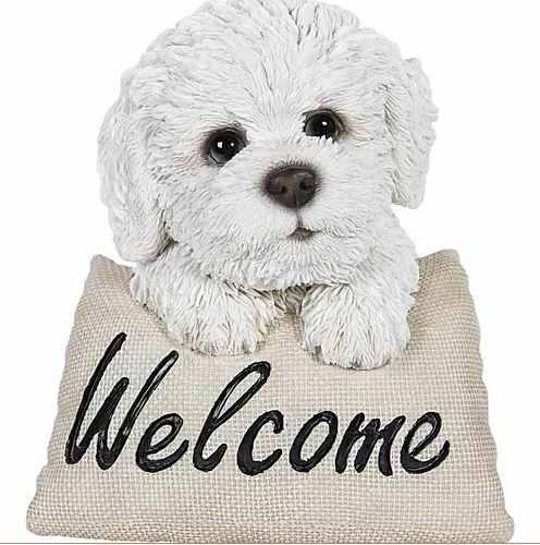 "5.6"" BICHON PUPPY PILLOW WELCOME CARD FIGURINE LIFELIKE ANIMAL HOME GARDEN DECOR"