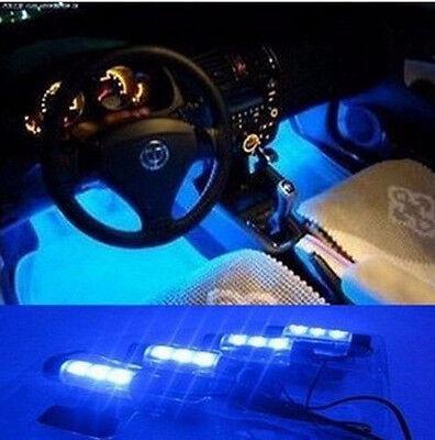 4 X Ultra Blue 3 LED 12V DC Car Auto Interior Atmosphere Lights Decoration US