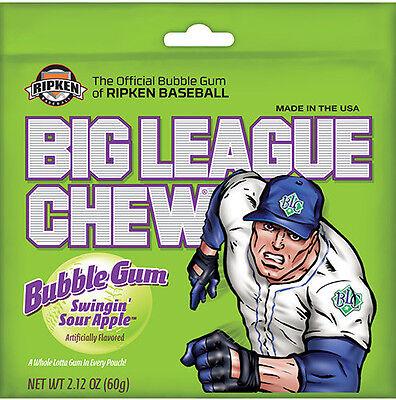 Sour Bubble Gum - Six Packs Big League Chew Swingin' Sour Apple Shredded Bubble Gum FREE SHIPPING