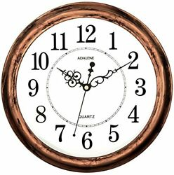 Adalene 13 Inch Large Non Ticking Silent Wall Clock Decorative Battery Operated