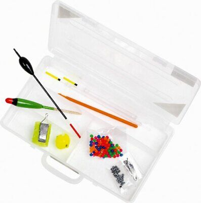Fishing Starter Set -Floats, Hooks, Weights, Feeder, Discorger, in Tackle Box #f