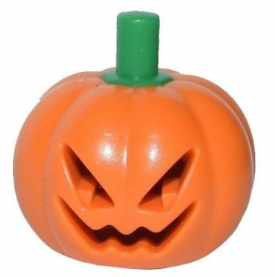 NEW Lego Halloween Minifigure Head Cover Pumpkin Jack O' Lantern Green Stem pump