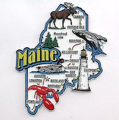 MAINE STATE MAP AND LANDMARKS COLLAGE FRIDGE COLLECTIBLE SOUVENIR MAGNET