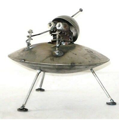 Sugarpost Mini Gnome Be Gone Alien UFO Outdoor Garden Home Welded Metal Art