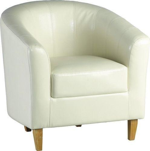 cream leather bucket chair leather club chair ebay 13600 | $ 3