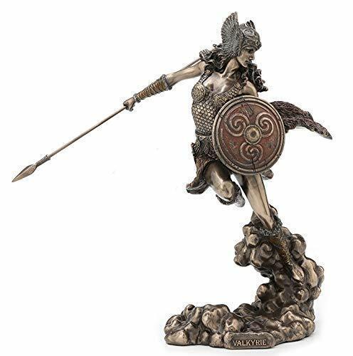 "9.25"" Norse Goddess Valkyrie Wielding Spear & Shield Statue Sculpture Valkyrja"