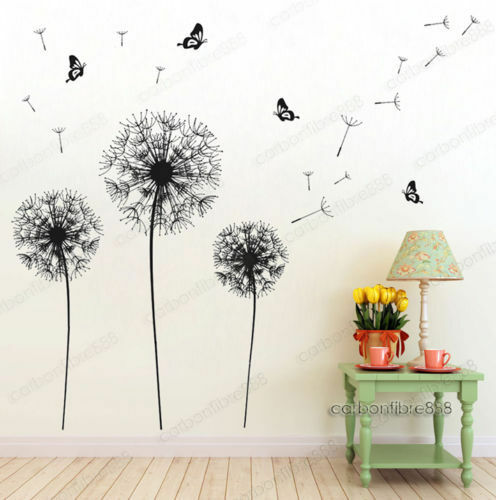 Home Decoration - Huge Dandelion Butterfly Flowers Wall Stickers Art Decal Home DIY Vinyl Decor UK